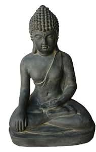 Stone-Lite Figura de Buda sentado Bhumisparsha-mudra - para casa y jardín - Altura 80 cm - negro