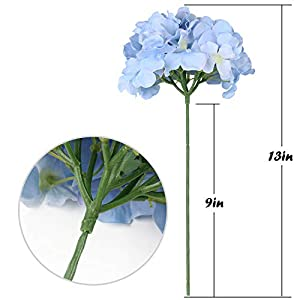 Flojery Silk Hydrangea Heads Artificial Flowers Heads with Stems for Home Wedding Decor,Pack of 10 (Blue) 5