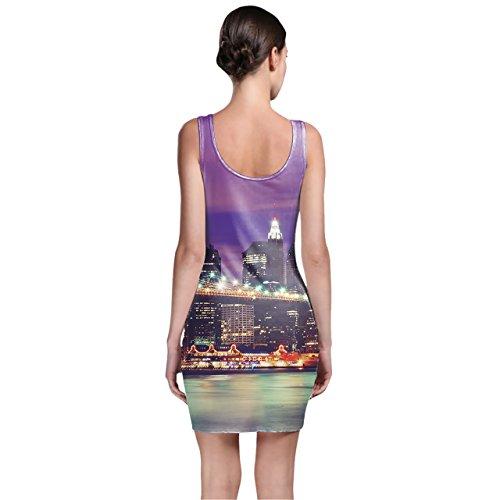 Ciudad de Nueva York por la noche Bodycon vestido XS-3X L sin mangas elástico corto vestido