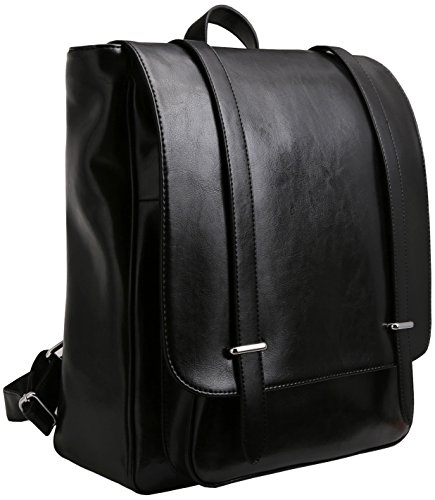 Iswee Unisex Leather Backpack Casual Daypack for Women and Men Fit 14in Laptop (Black) (Genuine Leather Flap Front)