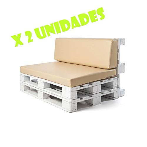 Pack 2 Colchonetas y respaldos para sofas de palet. Cojines rellenos de espuma para sofa de exterior. Color Beige | Cojines de sofa chill out, ...