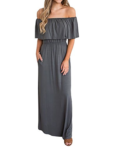 Womens Floral Off The Shoulder Dresses Summer Casual Ruffle High Waist Slit Long Maxi Dress with Pockets (Large, Dark Grey)