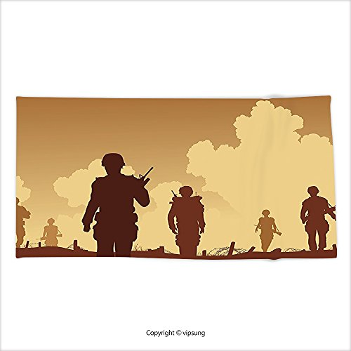 War And Peace Movie Costumes (Vipsung Microfiber Ultra Soft Hand Towel War Decor Soldier Shadows With Military Costumes And Weapons Walking On Patrol Print Brown Cream For Hotel Spa Beach Pool Bath)