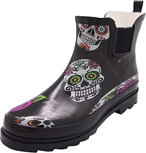NORTY - Womens Ankle High Skulls Print Boot, Black 40925-9B(M) US