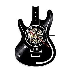 Crazy ogdre Creative Musical Instrument Vinyl Record Wall Clock Record Quartz Clock Wall Art Clock Retro Nostalgic Home Decoration Wall Clock (Color : Black, Size : 12 inch)