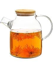 Dzbanek do herbaty z pokrywą bambusową 1,5 litra – filtr na wylocie – nadaje się do mycia w zmywarce – dzbanek na zimne/gorące napoje
