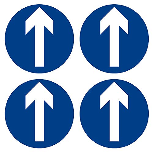dealzEpic - Round Blue Enter Sign with White Arrow/Gate Machine Entry Symbol - Self Adhesive Peel and Stick Multi-Purpose Vinyl Decal - 3.94 inches in Diameter | Pack of 4 Pcs
