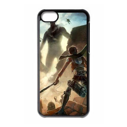 Attack On Titan coque iPhone 5C Housse téléphone Noir de couverture de cas coque EBDOBCKCO13868