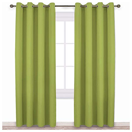NICETOWN Green Blackout Draperies Curtains - Window Treatment Thermal Insulated Solid Grommet Blackout Curtains/Drapes for Christmas Holiday Decor (Set of 2, 52 by 84 Inch, Fresh Green) (Drapery Panels Lime Green)