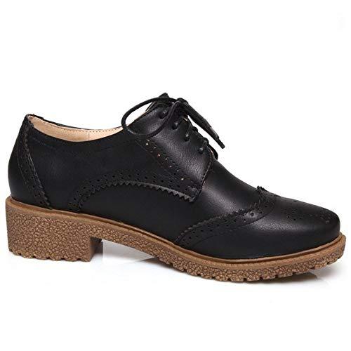 Lace Up Oxford Noir Flat Uniform Des cole Chaussures Lydee Classique Femmes YxvHqEBw0