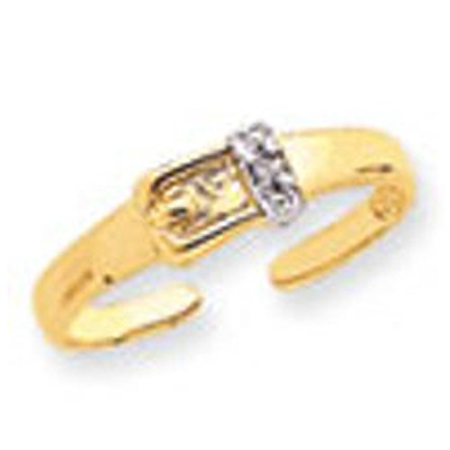 - Gold 0.01ct Diamond Buckle Toe Ring (14K)