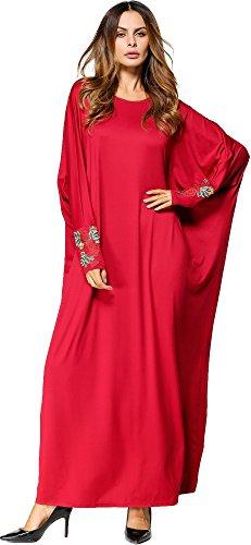 Wasserfall Kleid Ansatz Langarm 5420Rot Muslimisch Flügelhülse O Ababalaya Knöchellang Drucken Weich Lose Damen 1zPqw6