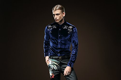 FANZHUAN Moderne Hemd Blau Samt Hemd Herren Style Männer Slim Fit