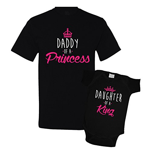 Daddy of a Princess and Daughter of a King Daddy Daughter Matching Set T-Shirt Bodysuit Clothing Black