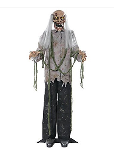 Oriental Trading Company Animated 5-Ft Standing Old Man Zombie with Lighted Eyes, Moving Mouth & Sounds Halloween Prop -
