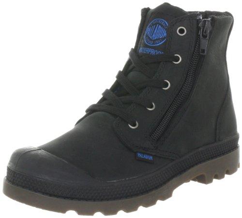 Palladium Pampa Hi Lea Gusset 52744-057-M Unisex-Kinder Bootschuhe Schwarz (BLACK/DARK GUM 057)