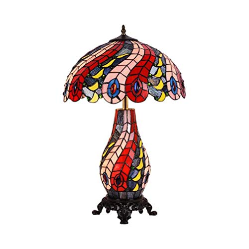 Tiffany Style Table Lamp, 16-Inch Color Glass Peacock Tail Feather Pattern Shade Zinc Alloy Base Desk Lamp for Living Room Bedroom Bedside Lamp, 110-240V