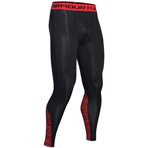 Under Armour HeatGear Coolswitch Compression Legging - Men's Black / Rocket Red / Reflective XL
