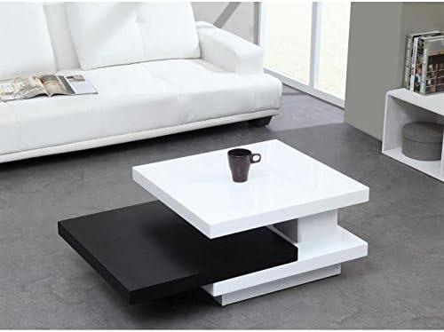 Trio mesa baja giratoria, lacado blanca/negra: Amazon.es: Hogar
