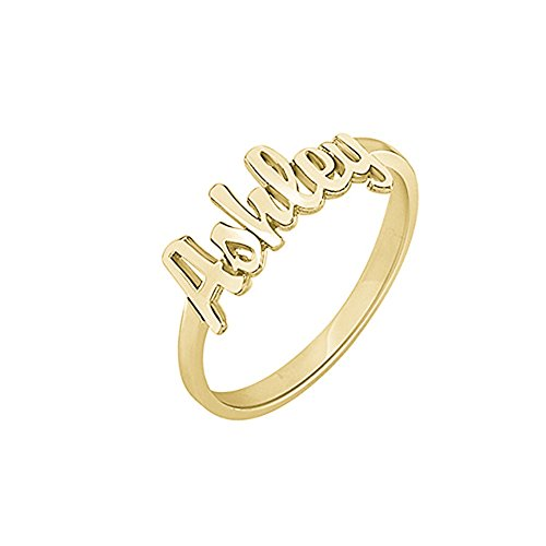 FUJIN 925 Sterling Silver Personalized Men Unisex Name Ring Custom Made with Any Names (Gold) -