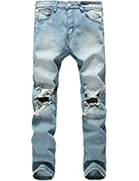 DAVID.ANN Men's Ripped Destroyed Skinny Denim Jeans with Holes