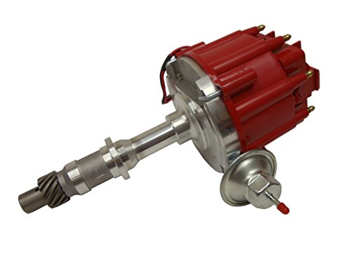 (HEI Distributor 50,000V 50K Coil w/Adjustable Vaccum Advance,Red Cap)