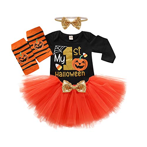 My First Halloween (Baby Girls Halloween Set My 1st Halloween Sequins Romper+ Chiffon Tutu Skirt+ Striated Leggings+ Bunny Headband 4Pcs Outfit Set (Orange, 3-6)