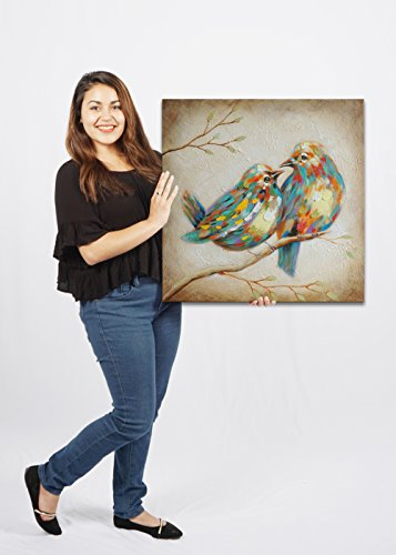 SEVEN WALL ARTS 100% Hand Painted Oil Painting Animal Colorful Birds Painting with Stretched Frame Wall Art for Home Decor Ready to Hang (24 x 24, Quirky Birds)