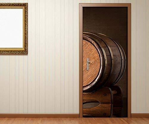 Türaufkleber Fass Holzfass Weinfass Küche braun Tür Bild Türposter Türfolie Türtapete Poster Aufkleber 15A232, Türgrösse 90cmx200cm