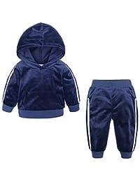 pipigo Big Boys Sportwear Stripe 2 Piece Sweatshirt Pants Velour Tracksuit Set