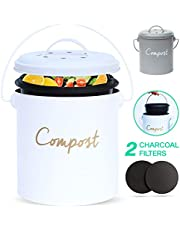 Compost BIN - Stainless Steel Compost Bin for Kitchen Counter - with Inner Compost Bucket for Kitchen, 2 Fruit Fly Trap Filters. Composter for Zero Waste Recyling