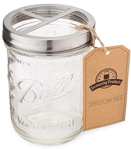 Jarmazing Products Mason Jar Toothbrush Holder - with 16 Ounce Ball Mason Jar - Made from Rust-Proof Stainless Steel