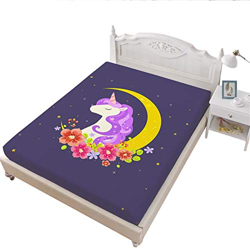 JSTextiles Unicorn Fitted Sheet, 1 Piece Cartoon Bedspread Full Size Deep Pocket Bedding, Girls/Boys Gift for Home Decor, Moon Purple