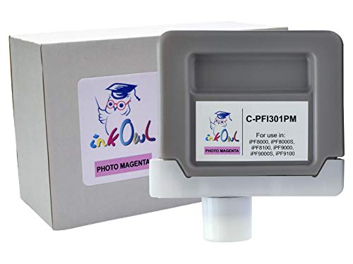InkOwl Compatible Ink Cartridge Replacement for Canon PFI-301PM (330ml, Photo Magenta) for iPF8000, iPF8000S, iPF8100, iPF9000, iPF9000S, iPF9100 Printers