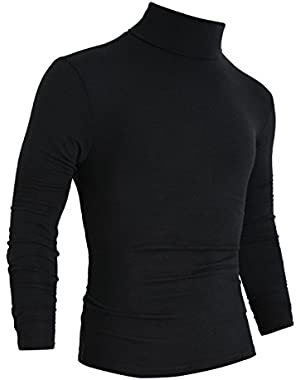 Men Long Sleeves Turtle Neck Slim Fit Shirt