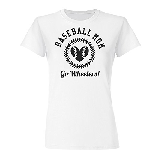 Baseball Mom Heart Go Wheelers!: Ladies Slim Fit Basic Promo Jersey Tee
