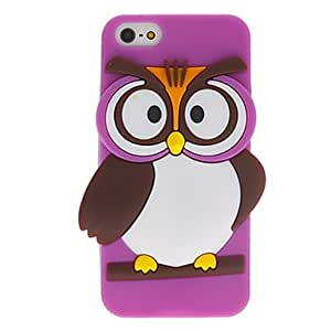 NEW Cartoon Style 3D Lovely Owl Pattern Silicone Case for iPhone 5/5S (Assorted Colors) , Black