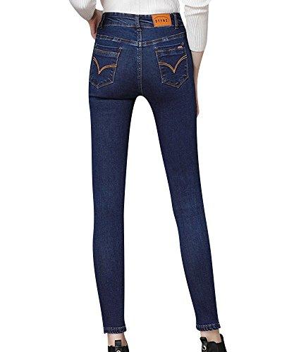 Slim Bleu Fonc Crayon Taille Denim Jeans Printemps Haute Femme gAa7qHA