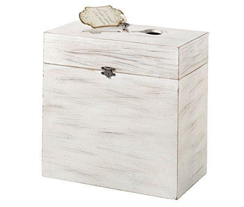 (Lillian Rose White Rustic Country Wooden Wedding Card Box)