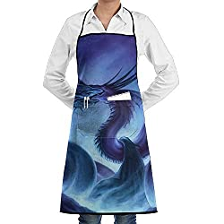 Cool Dragon Deathly Kiss Adjustable Bib Apron For Women Men Chef Restaurant Home Kitchen Apron Bib With 2 Pockets For Cooking Grill And Baking Crafting Gardening Bbq