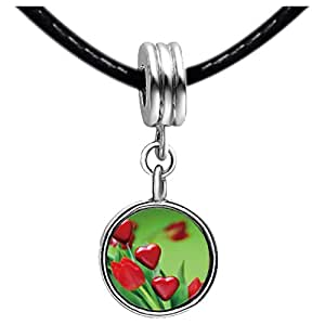 Chicforest Silver Plated multi red heart tulip Photo Emerald Green Crystal May Birthstone Flower dangle Charm Beads Fits Pandora Bracelet