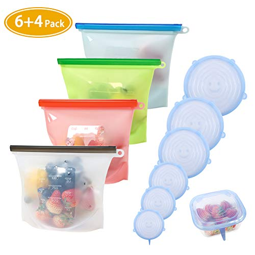 Silicone Food Storage Bag£¬Reusable Food Preservation Bag Airtight Seal Food Storage Container & Silicone Stretch Lids, Various Sizes Silicone Storage Covers Expandable Food Covers