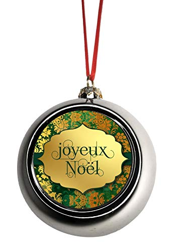 - Jacks Outlet Joyeux Noel - Merry Christmas in French Ornaments Silver Bauble Christmas Ornament Balls