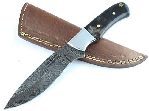 Moorhaus Handmade Damascus Buffalo Horn Handle Every Day Carry with Leather Sheath