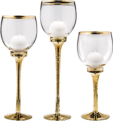 Palais Glassware Elegant Bougeoir Collection, Set of 3 Hurricane Candle Holders
