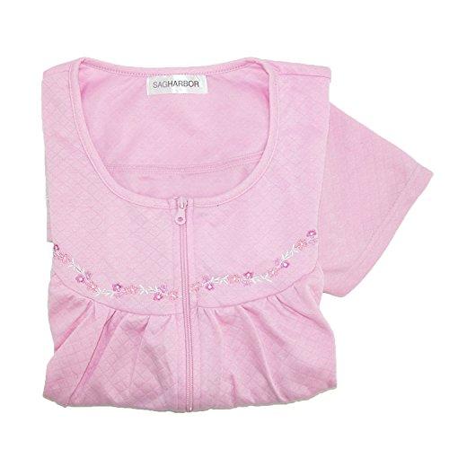 CTM Women's Zip Up Duster Housecoat Robe, Medium, Pink - Lady Housecoat