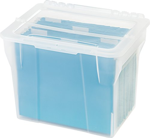 IRIS Split-Lid Letter Size File Box, 4 Pack, Small, Clear