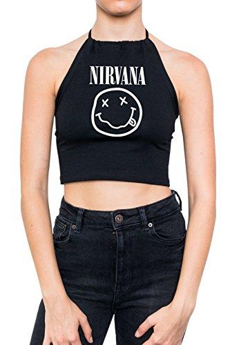 Nirvana Halter Crop Top Women's Girls Grunge Music Black
