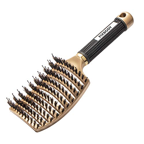 FIXBODY Boar Bristle Hair Brush - Curved & Vented & Oversize Design Detangling Hair Brush for Women Long, Thick, Curly and Tangled Hair Blow Drying Brush (Black)