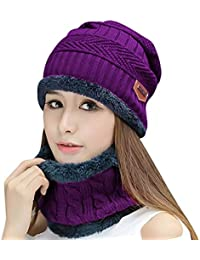 Winter Beanie Hat Scarf Gloves Slouchy Snow Knit Skull Cap Infinity Scarves  Touch Screen Mittens for bf49c3af36ca